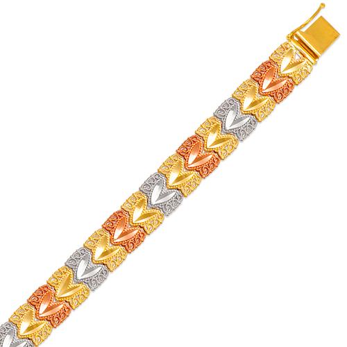 522-118T Ladies Faceted Diamond Cut Tricolor Bracelet
