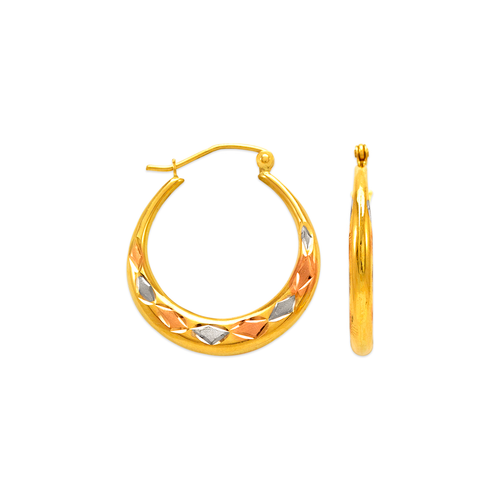 547-302T Hollow Shrimp Hoop Earrings