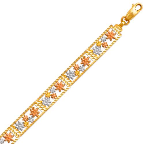 522-153T Ladies Faceted Diamond Cut Tricolor Bracelet