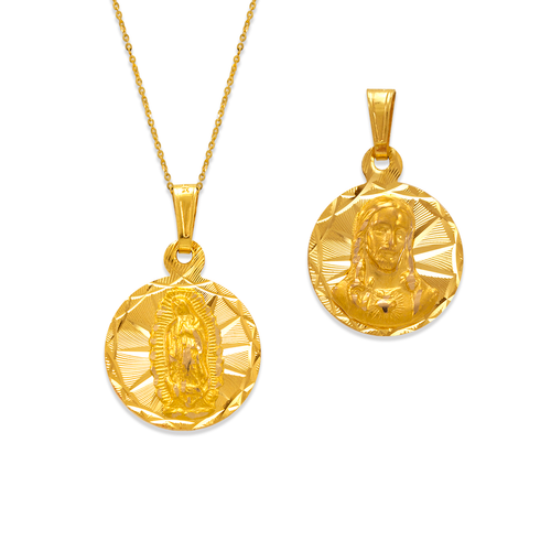 362-651-016 Round Guadalupe/Jesus Two-Sided Scapular Pendant