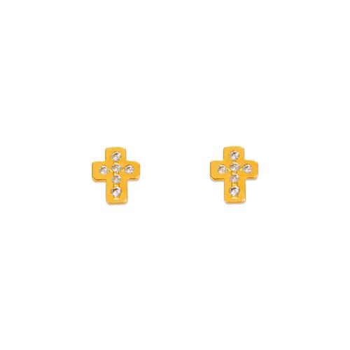 343-140 Cross Pave CZ Stud Earrings
