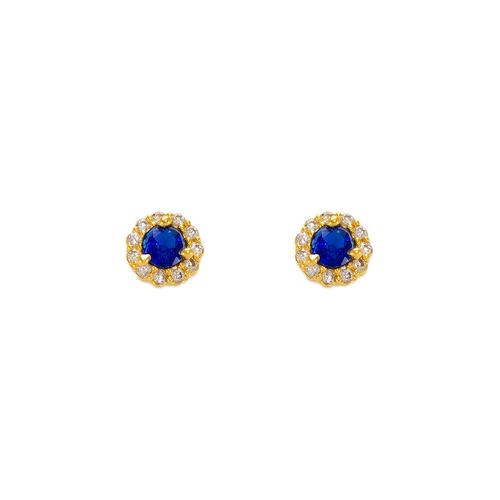 343-160BL 3mm Blue Round CZ Stud Earrings