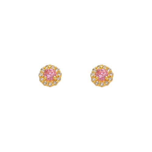 343-160PK 3mm Pink Round CZ Stud Earrings