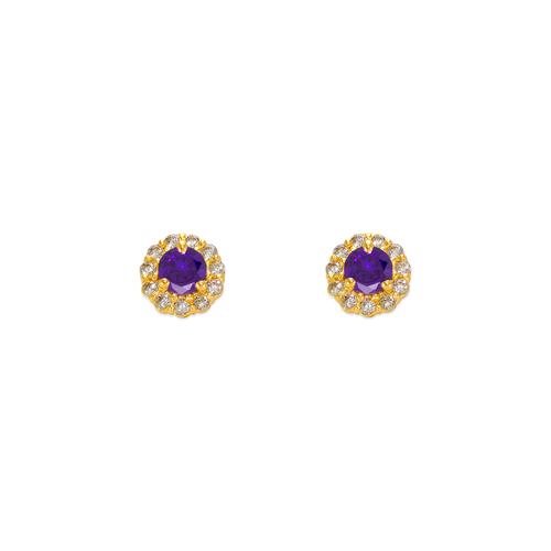 343-160PL 3mm Purple Round CZ Stud Earrings