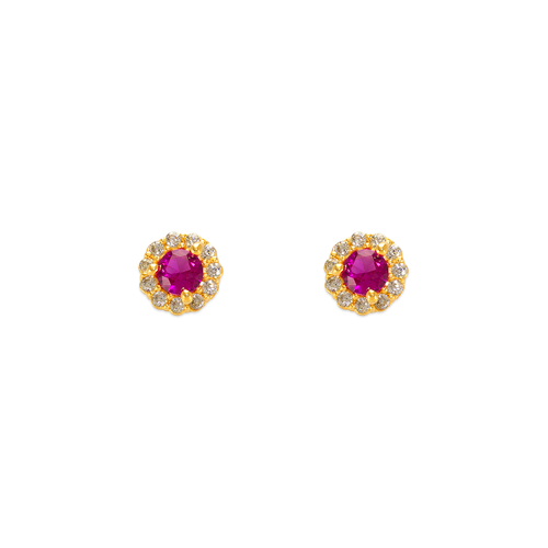 343-160RD 3mm Red Round CZ Stud Earrings
