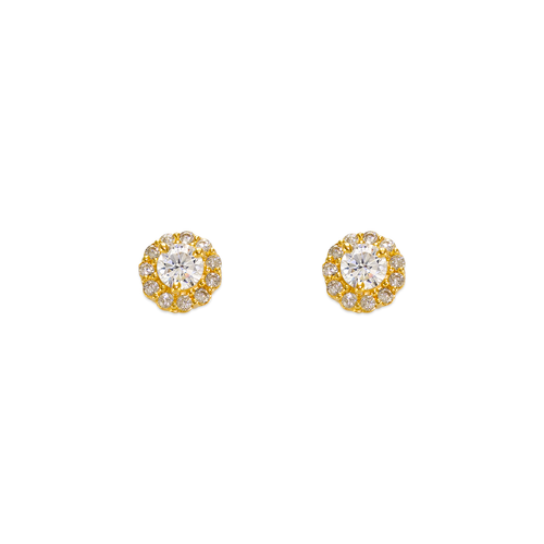 343-160WH 3mm White Round CZ Stud Earrings