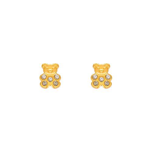 343-221 Bear CZ Stud Earrings