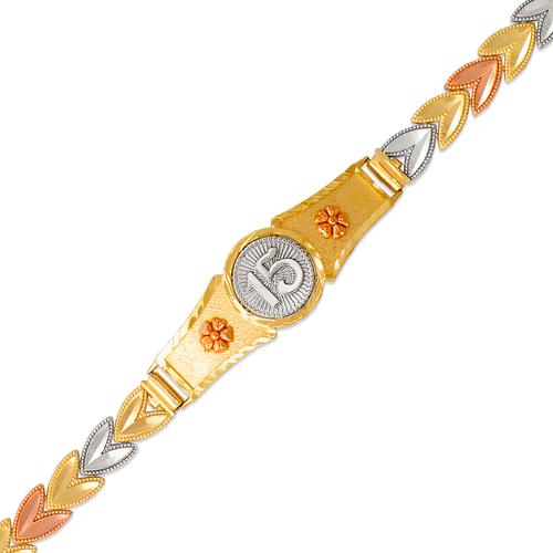 522-204 Ladies Faceted Diamond Cut 15 Anos ID Bracelet