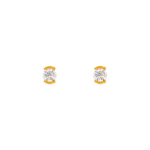343-281 Open Bezel CZ Stud Earrings