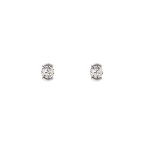 343-281W Open Bezel CZ Stud Earrings
