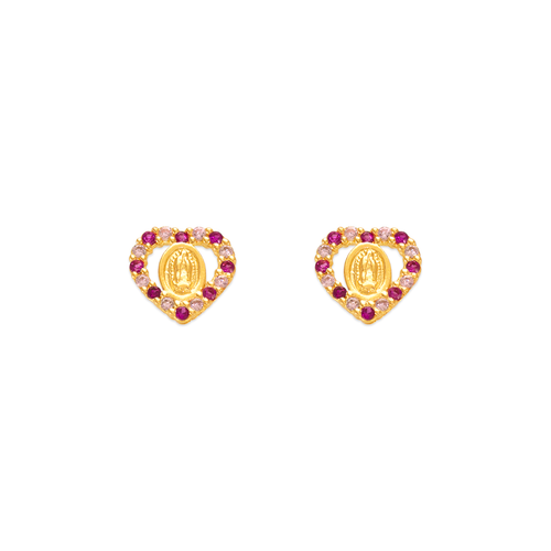 343-317RD Red Guadalupe Heart CZ Stud Earrings