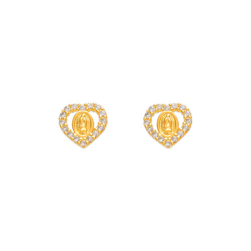 343-317WH White Guadalupe Heart CZ Stud Earrings