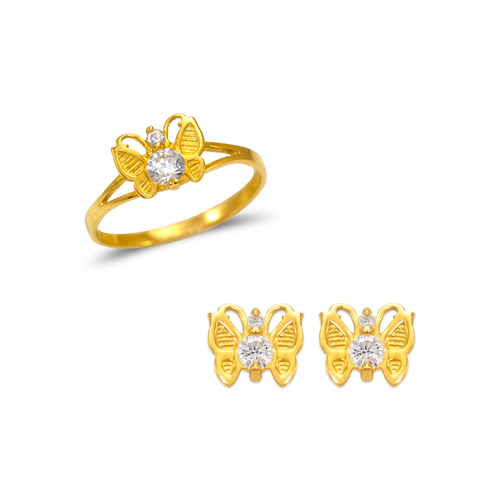 483-501 Kids Butterfly Ring and Earrings CZ Set