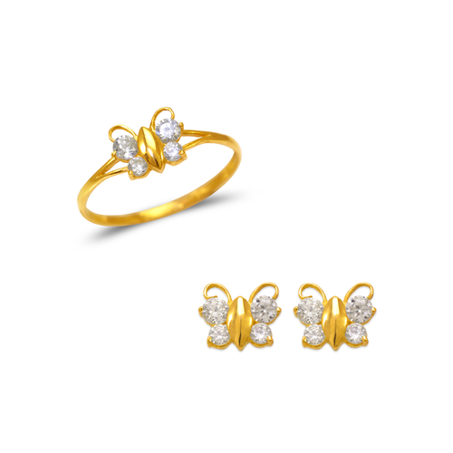 483-502 Kids Butterfly Ring and Earrings CZ Set