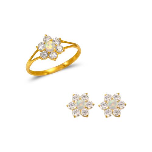 483-503 Kids Opal Flower Ring and Earrings CZ Set