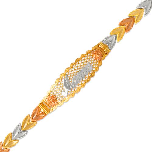 522-206 Ladies Faceted Diamond Cut Mama ID Bracelet