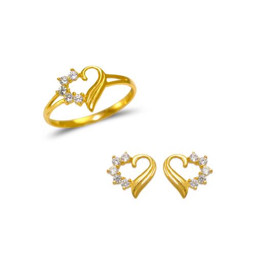 483-504 Kids Heart Ring and Earrings CZ Set