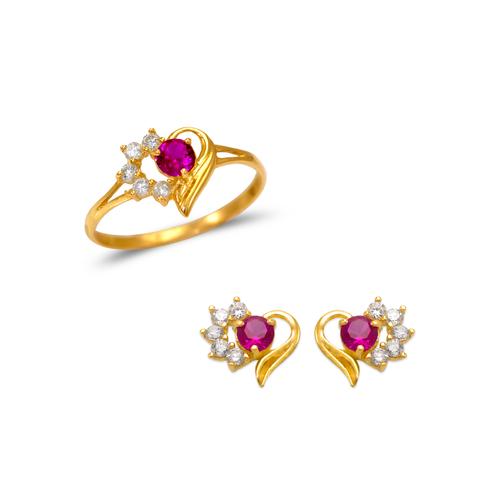 483-505 Kids Heart Ring and Earrings CZ Set