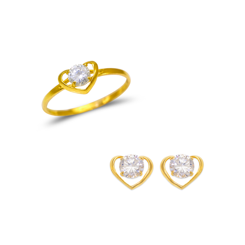 483-506 Kids Heart Ring and Earrings CZ Set