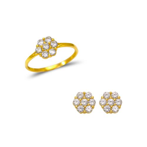 483-507 Kids Flower Ring and Earrings CZ Set