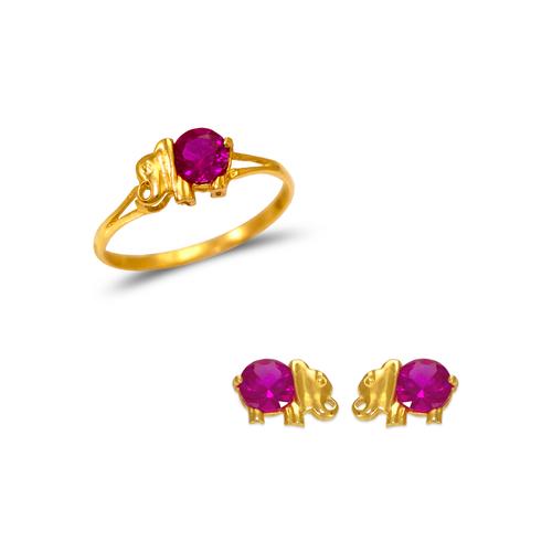 483-508 Kids Elephant Ring and Earrings CZ Set