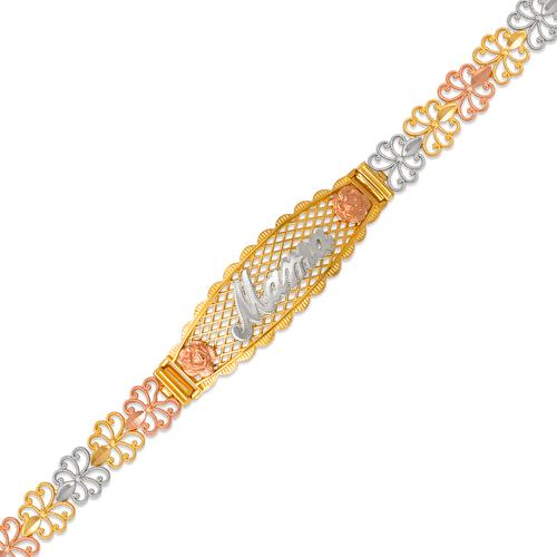 522-207 Ladies Faceted Diamond Cut Mama ID Bracelet