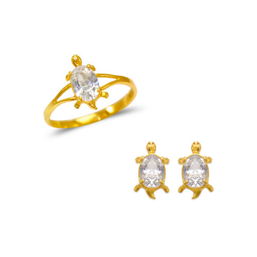 483-509 Kids Turtle Ring and Earrings CZ Set
