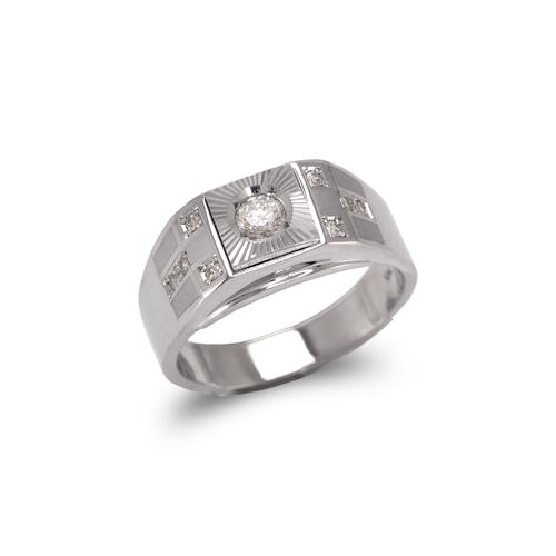 473-117W Men's White Couple CZ Ring