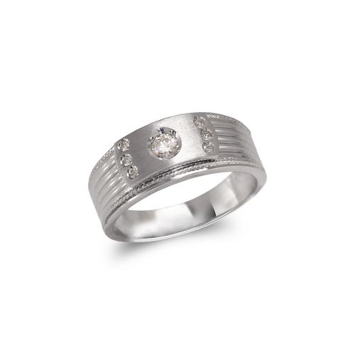 473-123W Men's White Couple CZ Ring