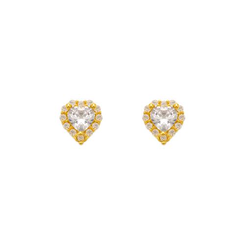 343-161WH Heart White Halo CZ Stud Earrings