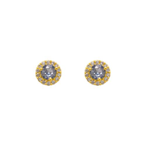 343-162LB Light Blue Solitaire Halo CZ Stud Earrings