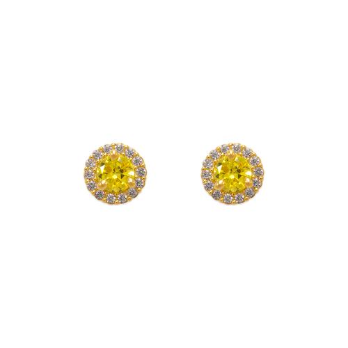 343-162YE Yellow Solitaire Halo CZ Stud Earrings