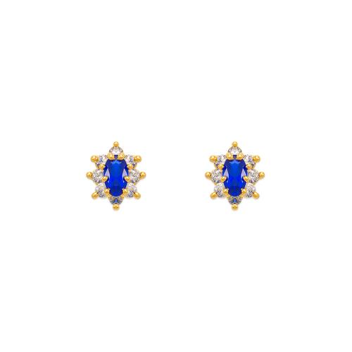 343-163BL Blue Flower Halo CZ Stud Earrings