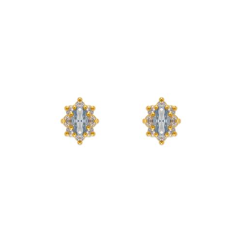 343-163LB Light Blue Flower Halo CZ Stud Earrings