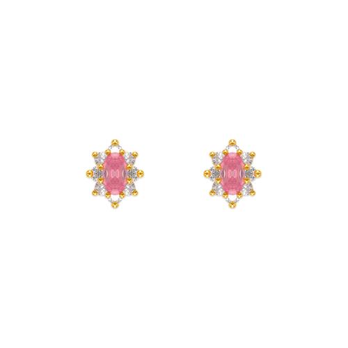 343-163PK Pink Flower Halo CZ Stud Earrings