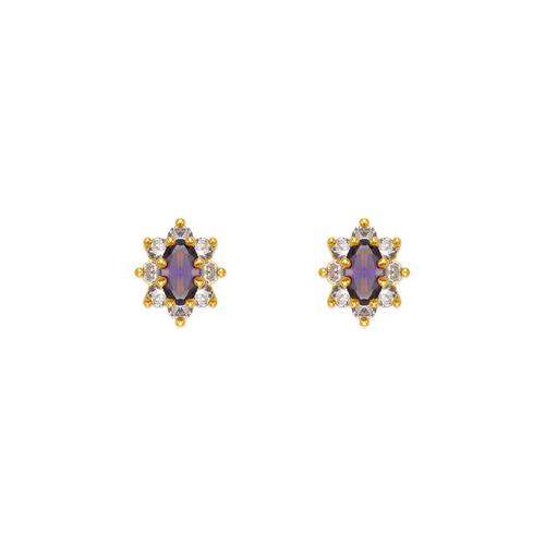 343-163PL Purple Flower Halo CZ Stud Earrings