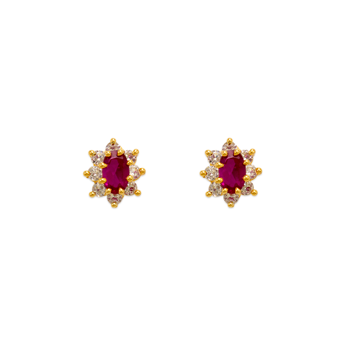 343-163RD Red Flower Halo CZ Stud Earrings