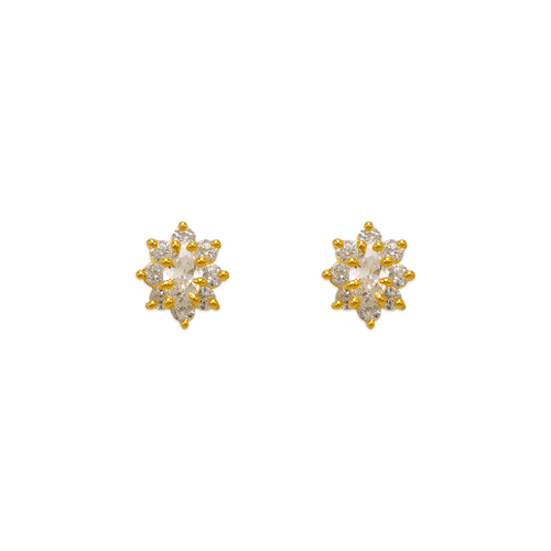 343-163WH White Flower Halo CZ Stud Earrings