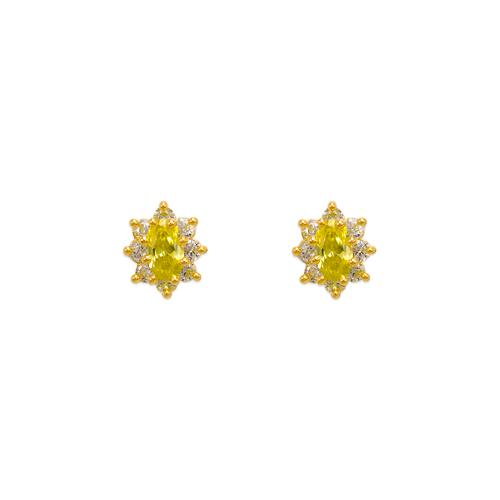 343-163YE Yellow Flower Halo CZ Stud Earrings