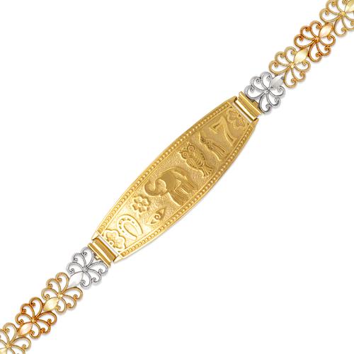 522-212 Ladies Faceted Diamond Cut Goodluck ID Bracelet