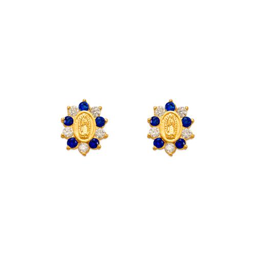 343-306BL Blue Guadalupe Flower CZ Stud Earrings