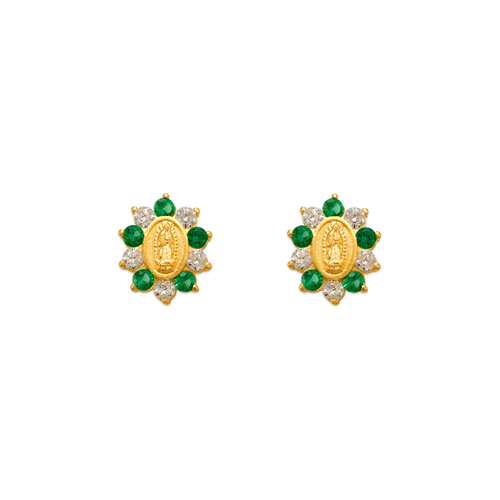 343-306GR Green Guadalupe Flower CZ Stud Earrings