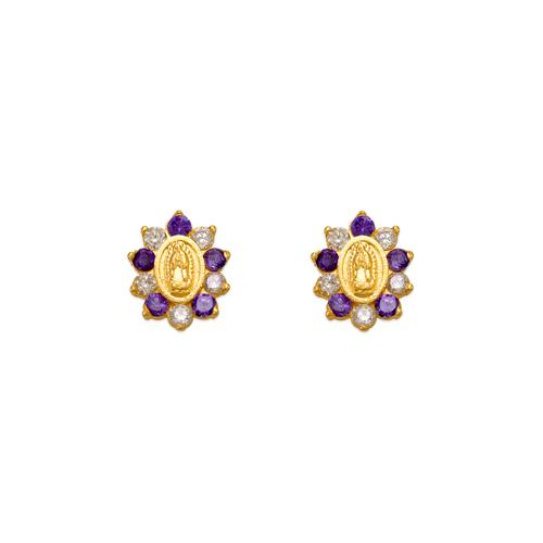 343-306PL Purple Guadalupe Flower CZ Stud Earrings