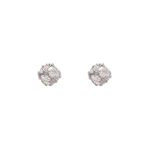 483-701W Small Fancy Ball CZ Stud Earrings