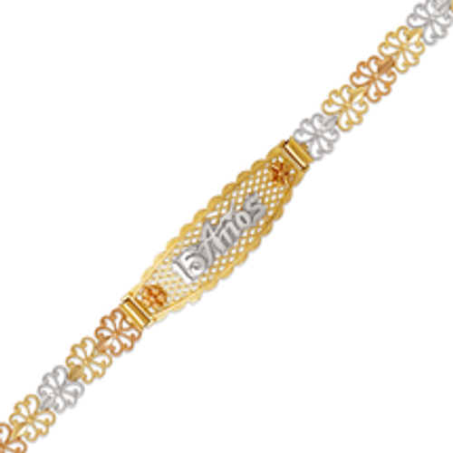 522-213 Ladies Faceted Diamond Cut 15 Anos ID Bracelet