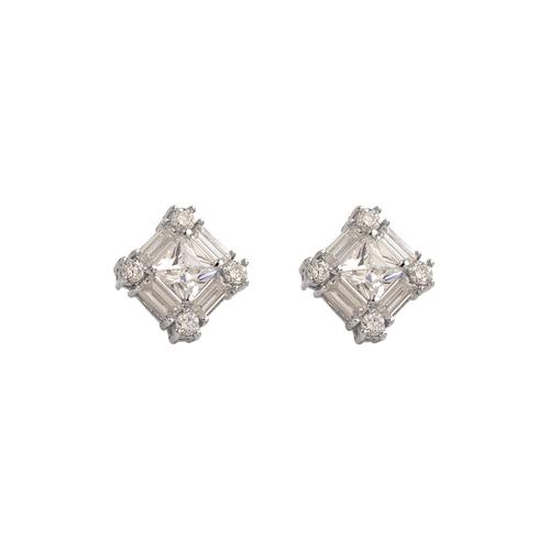 483-601W Fancy White CZ Stud Earrings