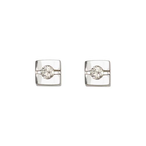 661-026W Fancy Square CZ Stud Earrings