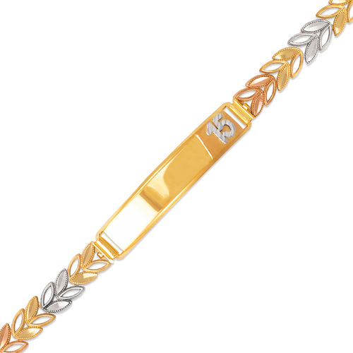 522-223 Ladies Faceted Diamond Cut 15 Anos ID Bracelet