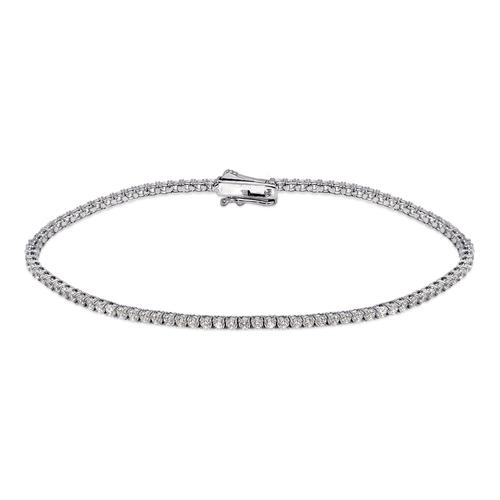 723-017W Round Pave Tennis White CZ Bracelet 1.75mm