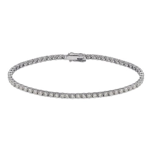723-025W Round Pave Tennis White CZ Bracelet 2.5mm